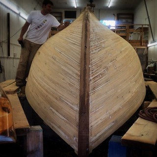 Strip-planked construction in progress at #brooklinboatyard #brooklin #maine #sailboat #boats | by kindreds unite