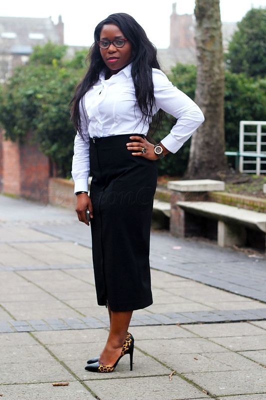 white-front-ruffled-longsleeved-shirt-black-front-zip-midi-length-skirt-black-and-leopard-heels,white ruffle long sleeved shirt, ruffle long sleeved shirt, black and leopard print stiletto heels