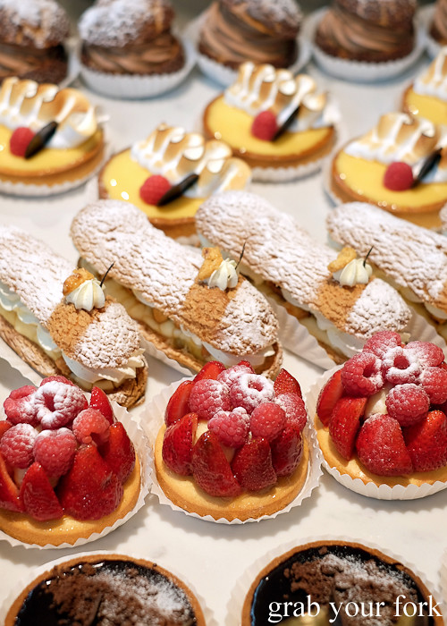 Strawberry tarts, eclairs and lemon tarts at Pigeon Whole Bakers in Hobart Tasmania