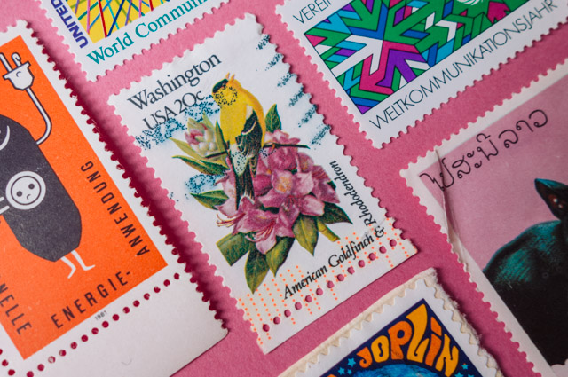 colourful stamps from around the globe