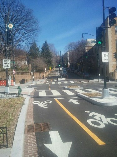 Cycletrack on 15th Street NW, looking east towards Meridian Hill Park (at W Street)