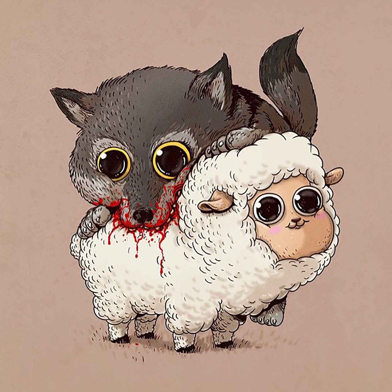 "Artist Creates Extremely Adorable ""Predator & Prey"" Illustrations #13: Wolf & Sheep"
