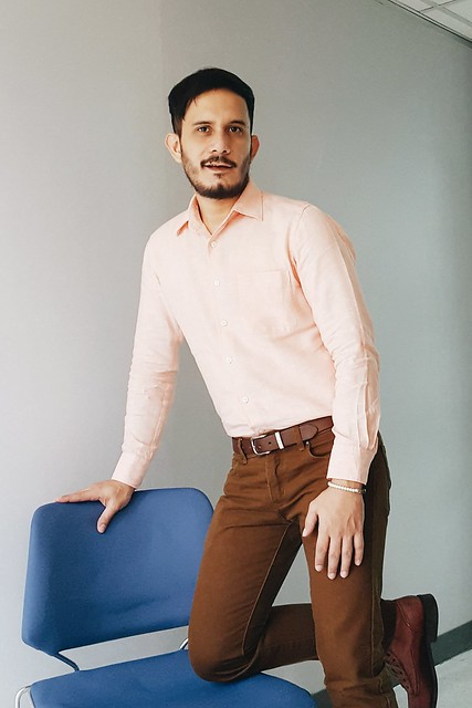 halfwhiteboy - linen peach shirt and brown pants 02