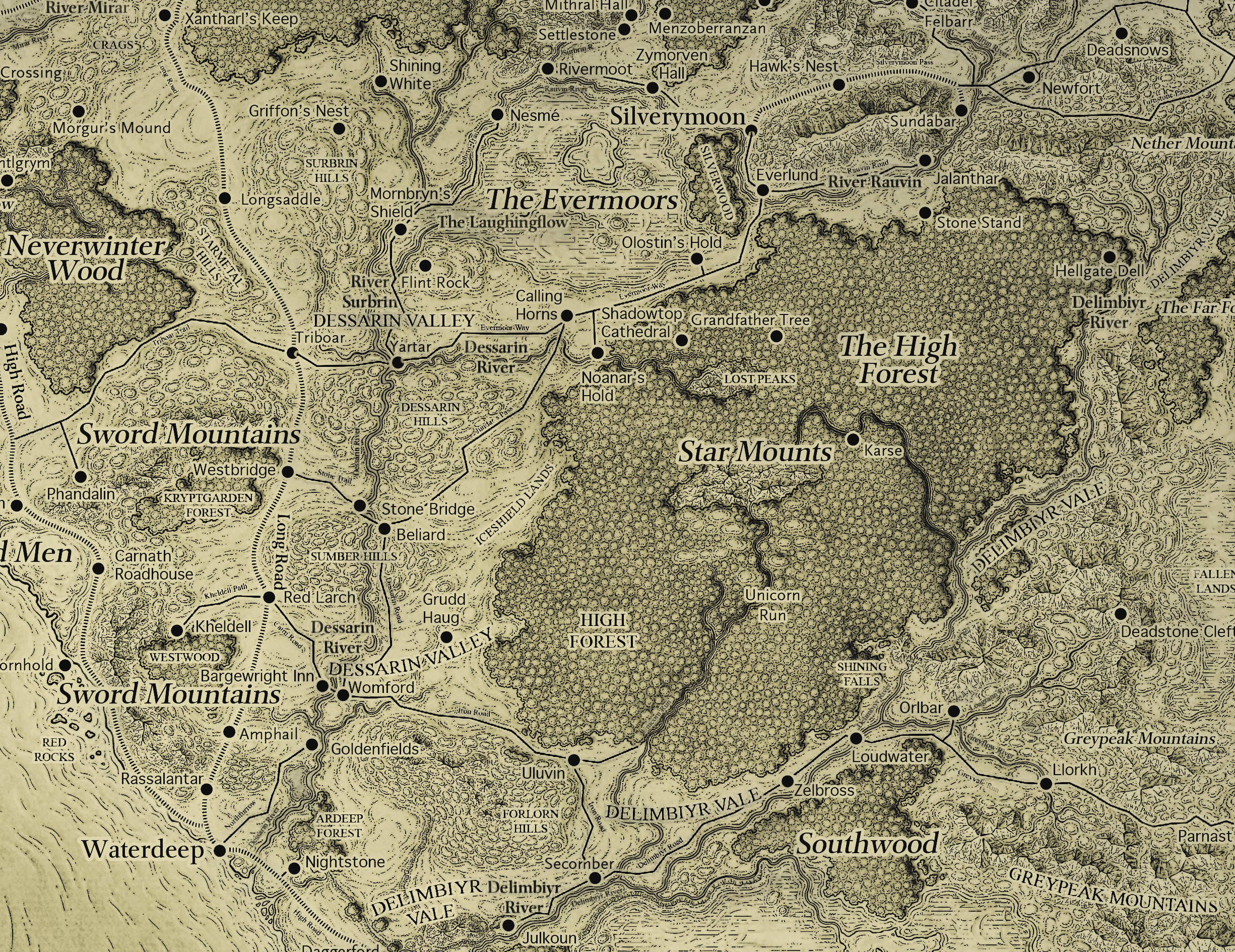 Here's a weathered map version of the ultra-high-res map of Faerun