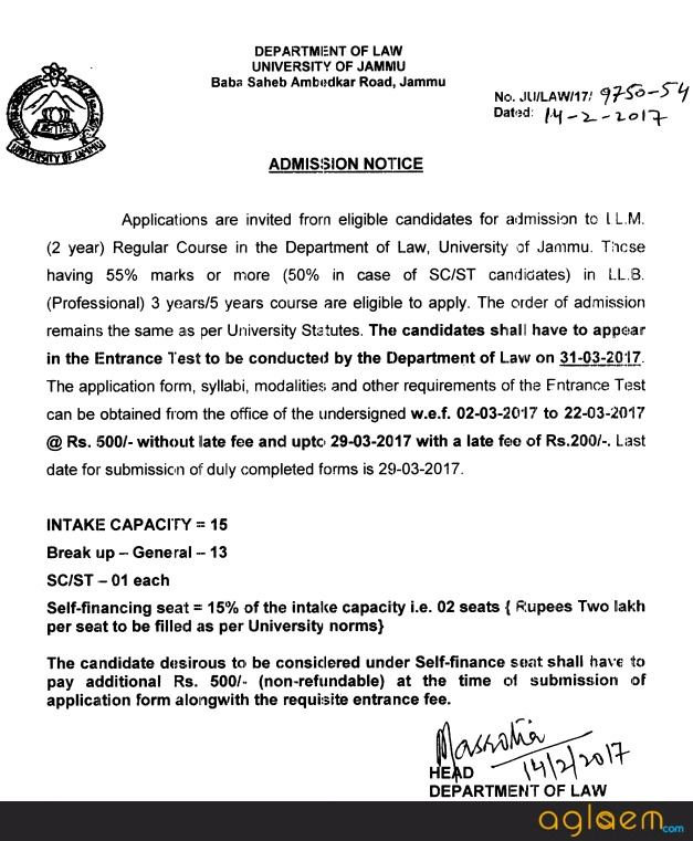 Jammu University LLM Entrance Test 2017