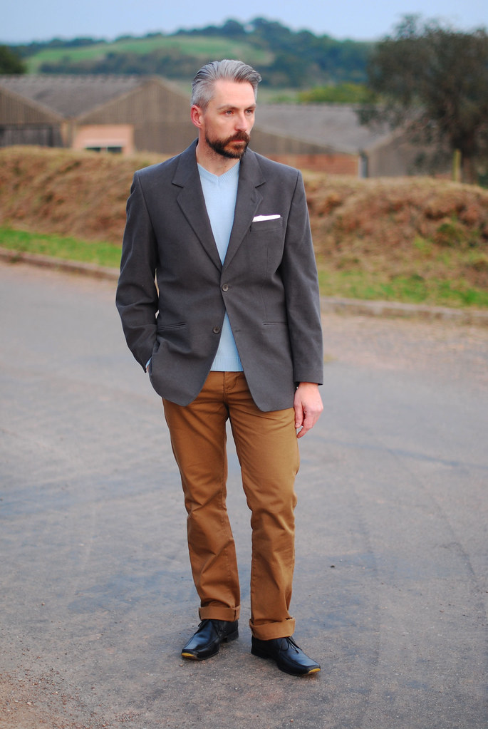 Smart Casual Menswear Grey Blazer Brown Chinos Pale Blu Flickr