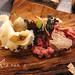 Corteccia di Pino marino, con carne di manzo giapponese battuta al coletllo funghi giapponei e tartufo bianco