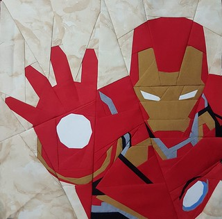 Paper pieced superhero IRONMAN. Pattern on fandominstitches.com Pieced by Hannah Hughes