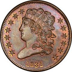 Garrett 1831 Reverse of 1836 Half Cent obverse
