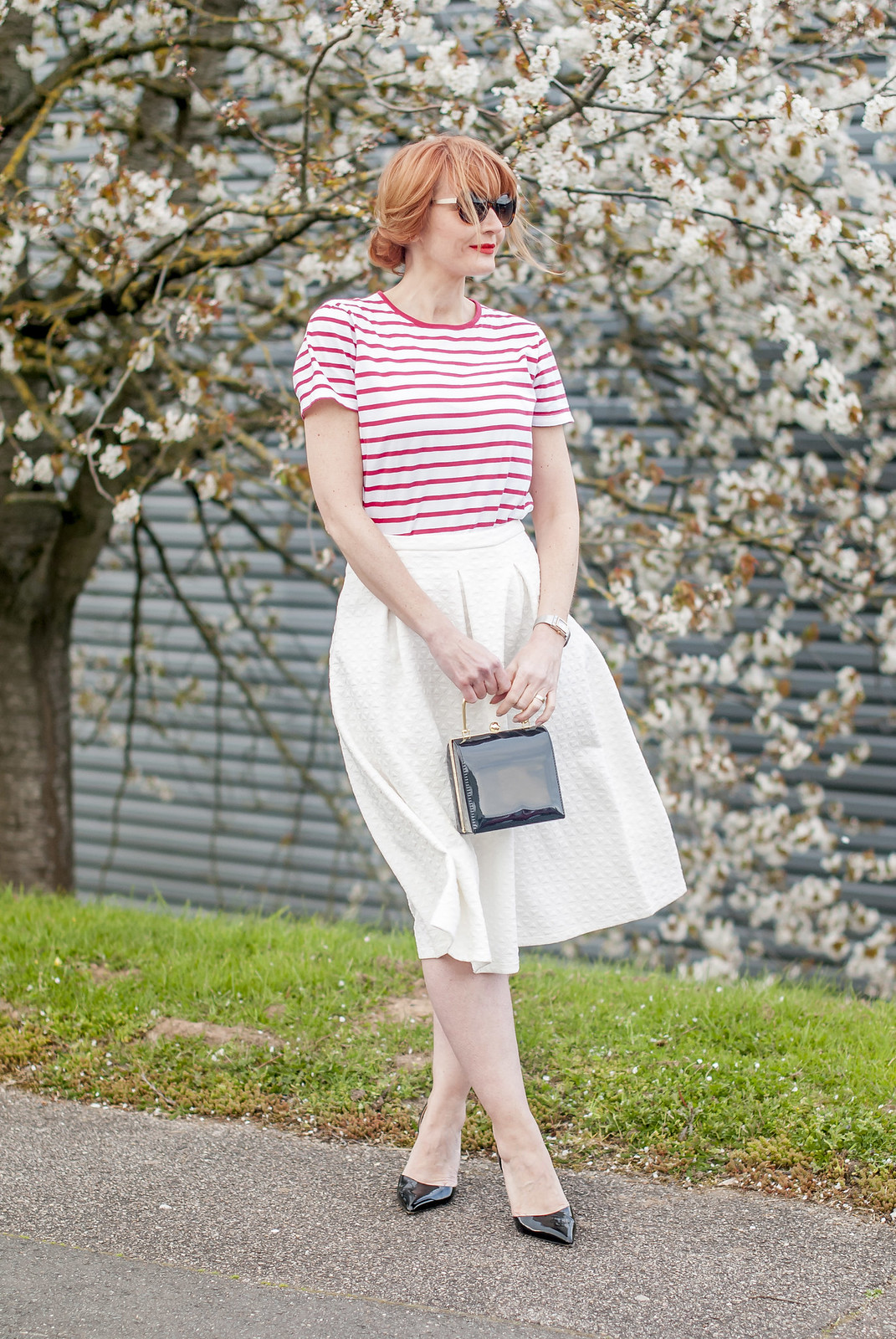Perfect spring outfit: Red Breton stripe t-shirt \ white full midi skirt \ black d'Orsay patent heels \ tortoiseshell sunglasses \ black box handbag | Not Dressed As Lamb