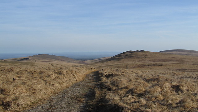 Looking back down the track, Oke Tor, and Belstone Ridge left,  Steeperton Tor to the right.