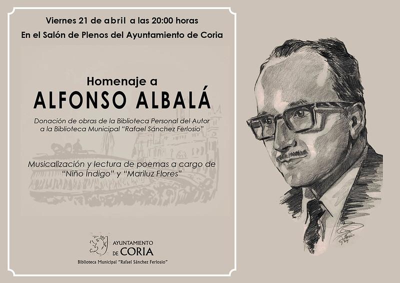 El viernes día 21 de abril se realizará un homenaje al escritor cauriense Alfonso Albalá