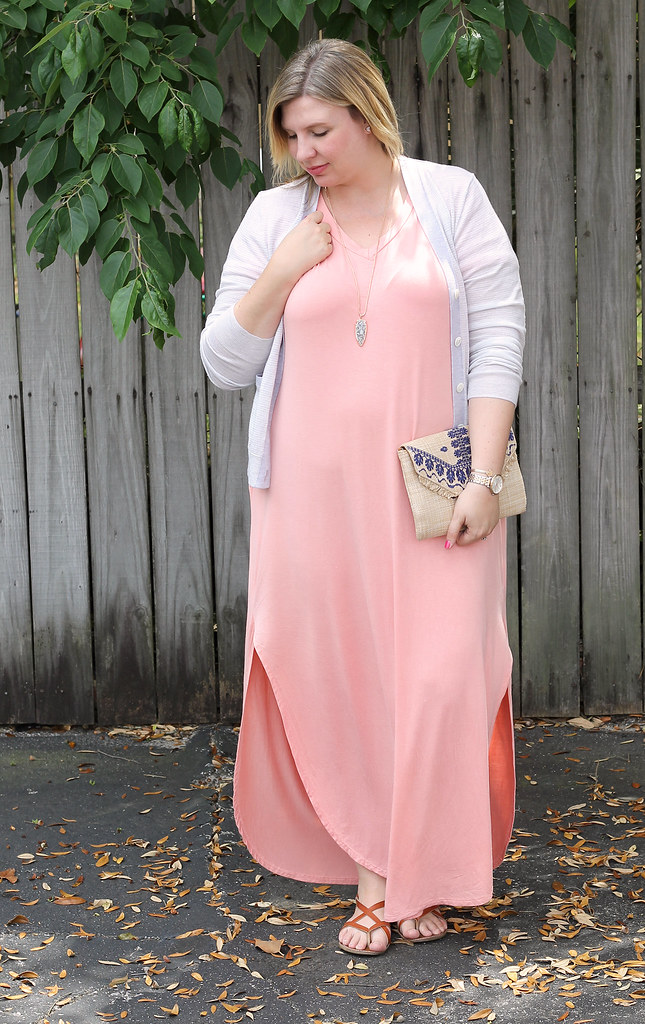 pink oversized maxi, gray stripe cardigan 7