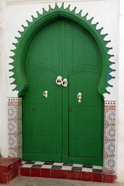 Green door in Asilah, Morocco