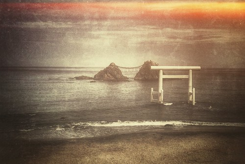 A couple of small rocks and Torii | by Mitsu-chan