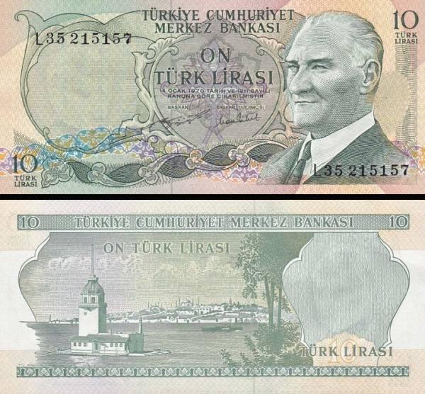 10 Türk Lirasi Turecko  1971-82, P186