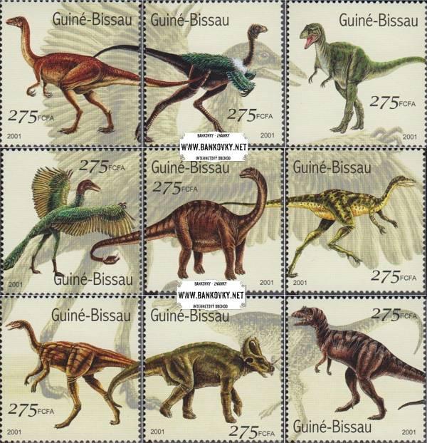 Známky Guinea Bissau 2001 Dinosaury, nerazítkovaná séria
