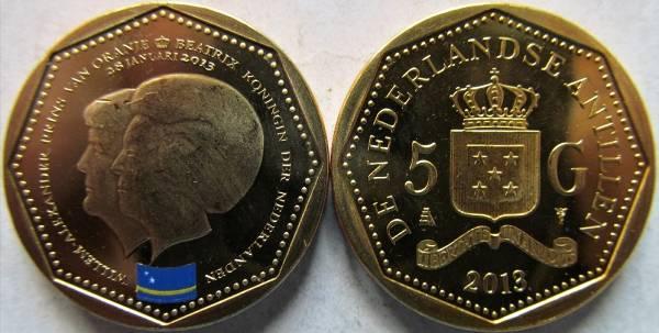 Holandské Antily 5 Gulden 2013 UNC Curaçao