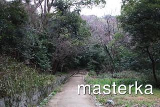 松山城の山を登ってく