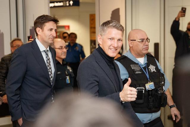 Bastian Schweinsteiger arrives in Chicago
