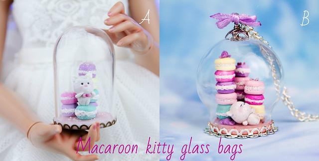 Macaroon kitty glass bags