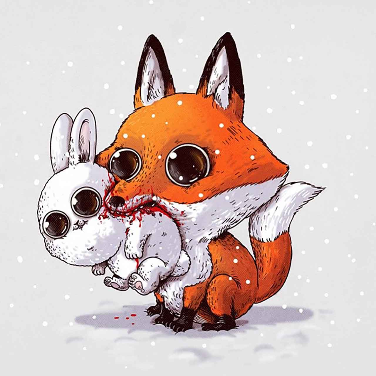 "Artist Creates Extremely Adorable ""Predator & Prey"" Illustrations #6: Fox & Rabbit"