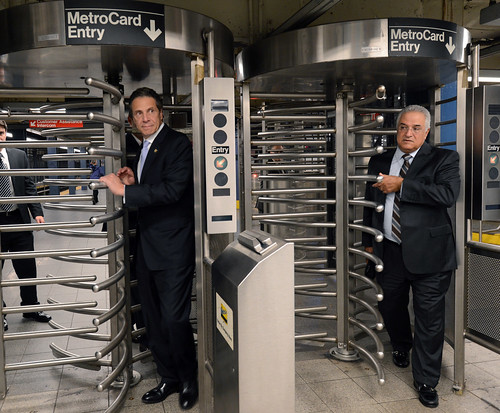 Gov. Cuomo & Chairman Prendergast Ride E Train | by MTAPhotos