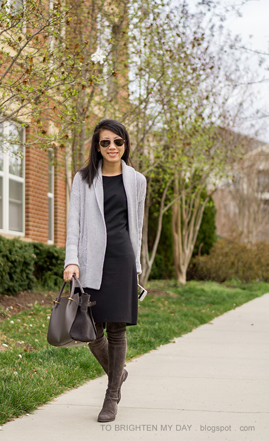 gray open cardigan sweater, black sheath dress, gray suede over the knee boots, gray tote