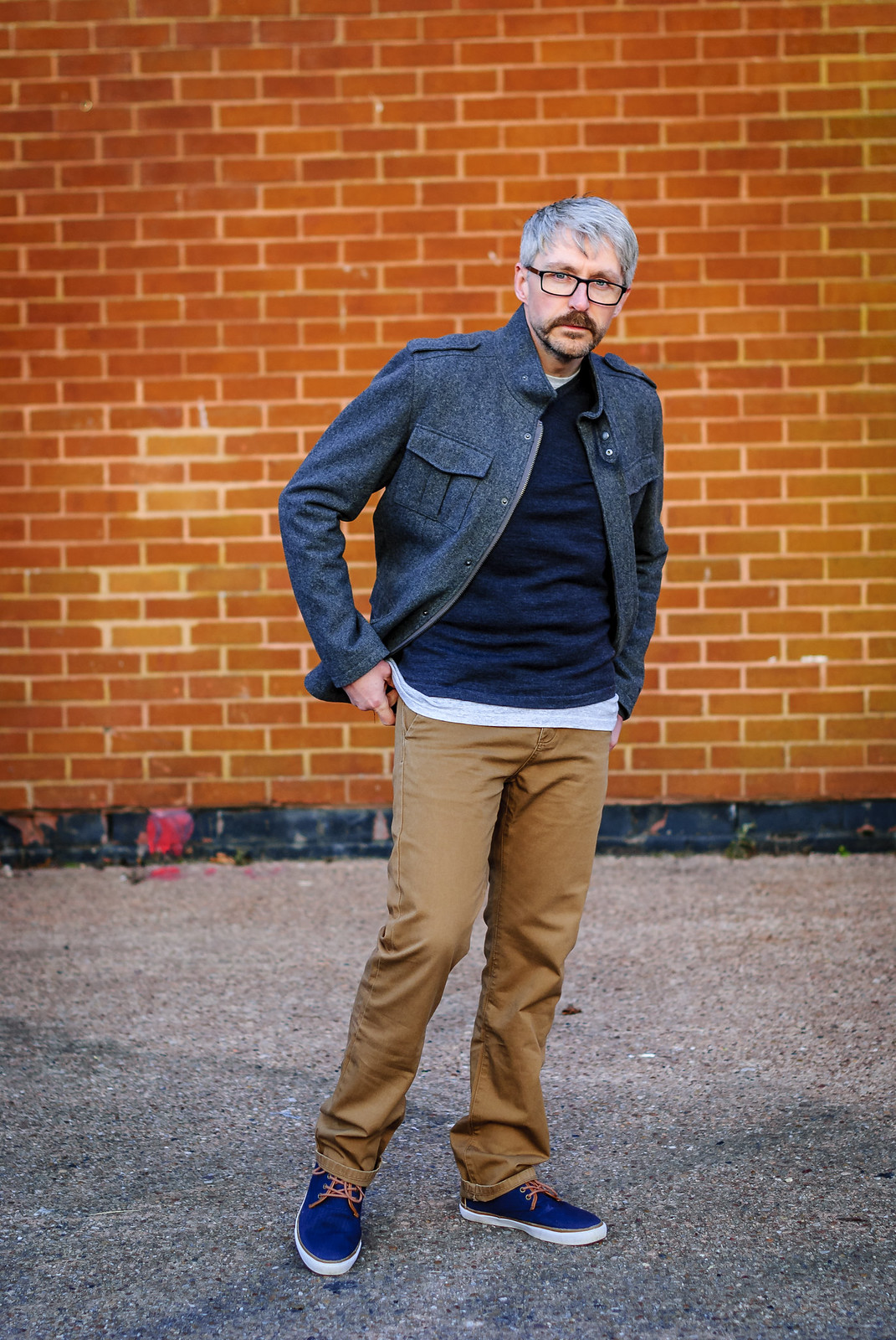 Casual Menswear: V-neck Jumper \ T-shirt \ Chinos \ Grey Jacket \ Canvas Boots \ Silver Londoner, over 40 style