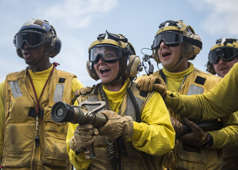 USS Makin Island conducts a fire drill on the flight deck.