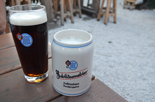 Beer garden, Berchtsgaden, Bavaria, Germany