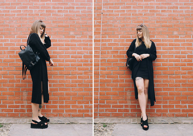 all black monochrome minimal spring summer outfit lyzi unwin being little british uk bristol fashion lifestyle blog blogger zara sandals H&M bodycon dress mango cardigan monki leather backpack forever 21 round sunglasses freedom to exist fte watch