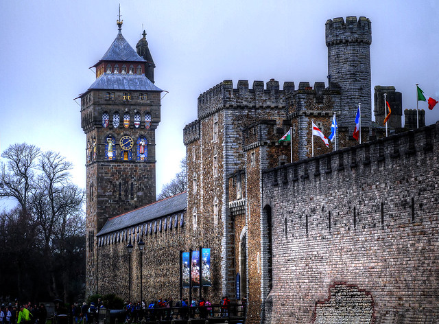 Cardiff Castle, looking down toward the Norman Tower