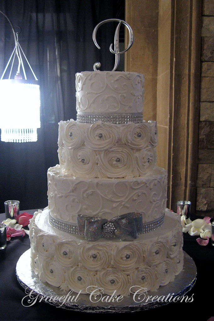 Elegant Silver and White Wedding Cake with Rosettes | Flickr