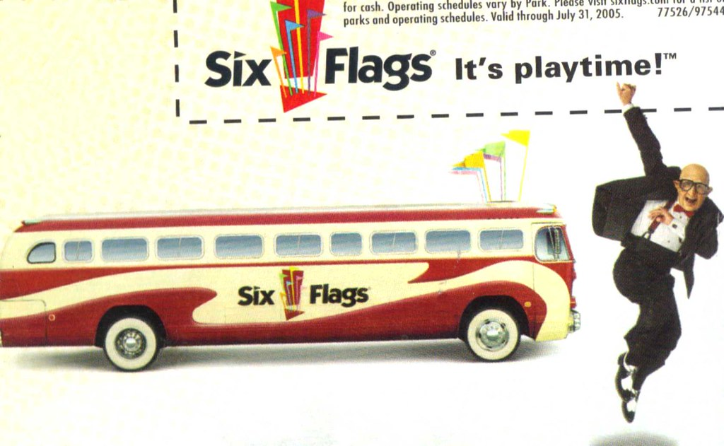 Six Flags Magic Mountain Fun Bus With Dancing Man Ad From 2005