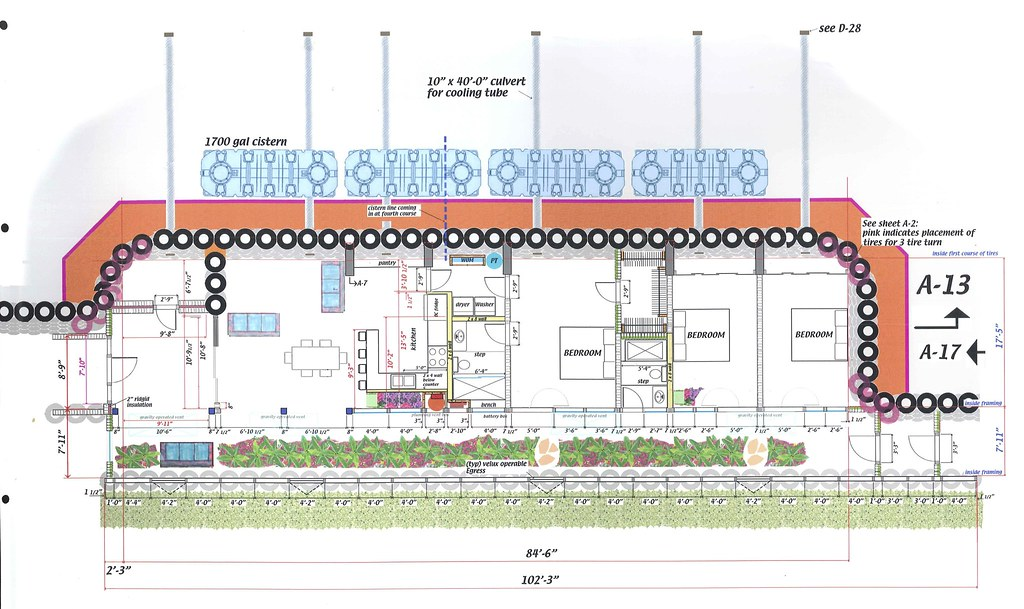 Overhead drawing of Kinney Earthship | Overhead building