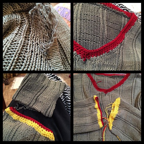 Doing surgery on an old, damaged jumper with too-long sleeves. #dontknitwontknit #nothingtolose #visiblemending #crochet