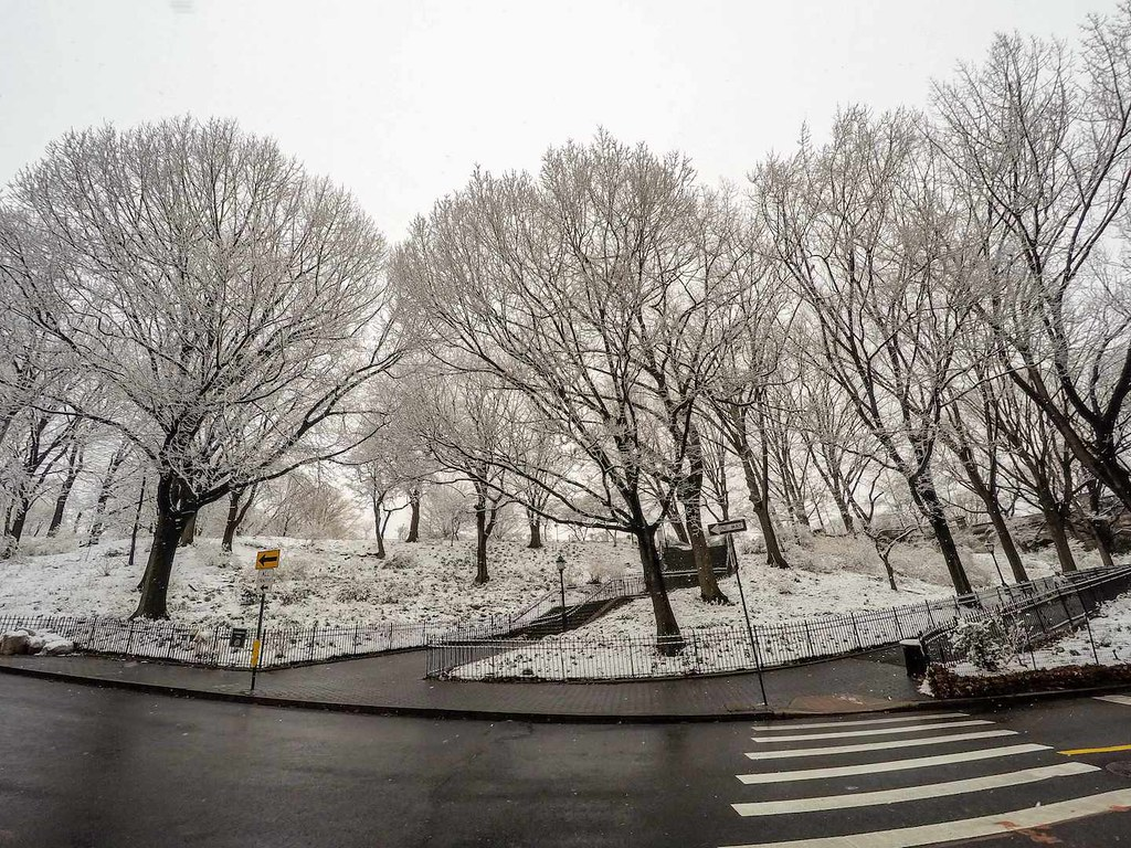 Snow covered Riverside Park in New York City