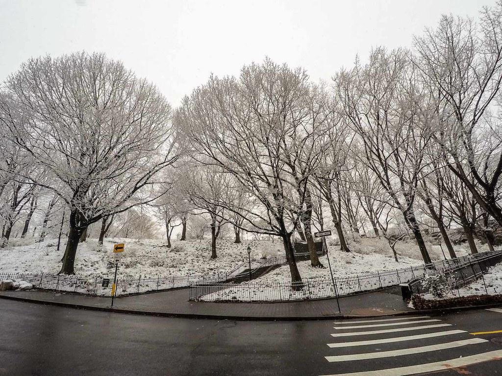 Snow covered Riverside Park in New York City