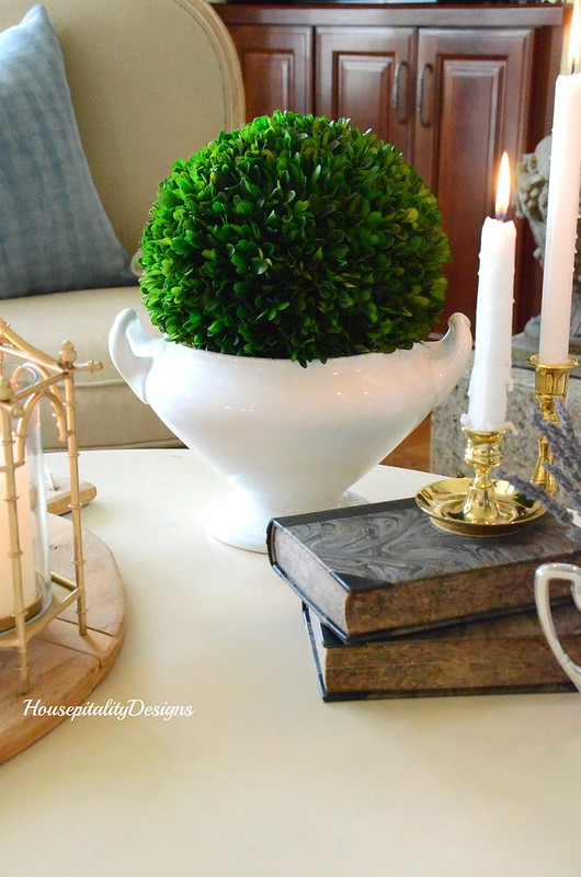 Ironstone-Preserved Boxwood-Antique books-Housepitality Designs