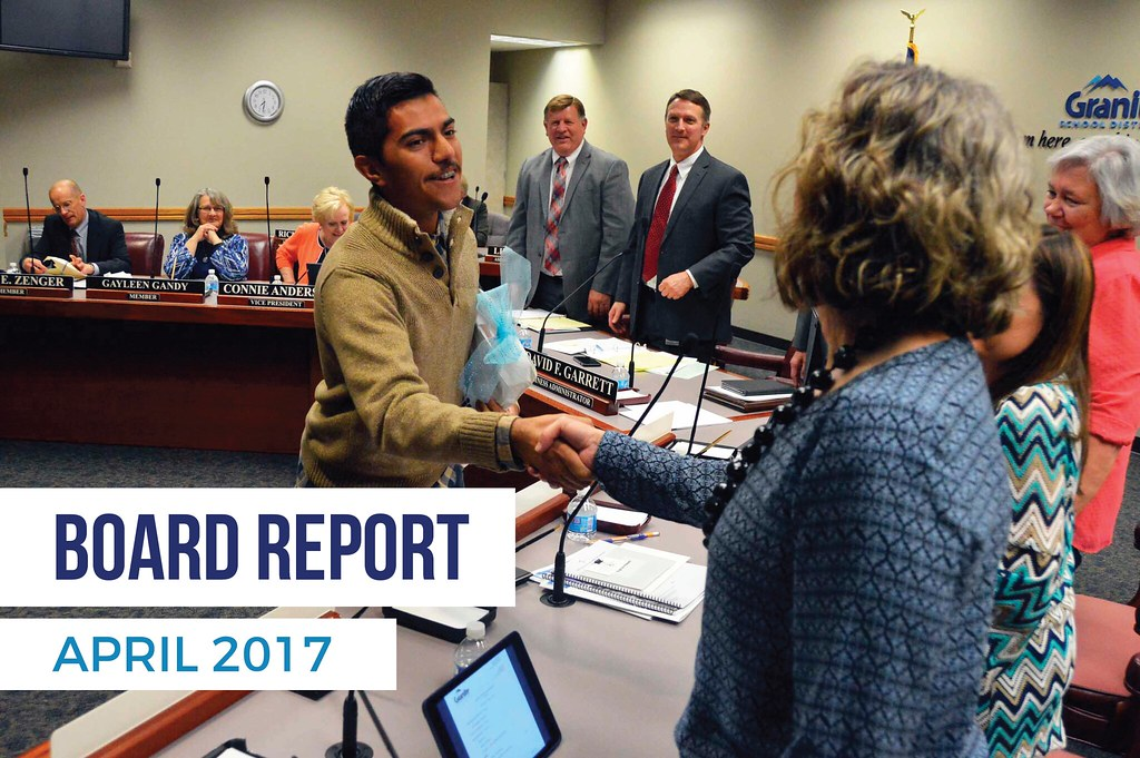 Taylorsville High student shaking hands with board members with text 'Board Report April 2017'