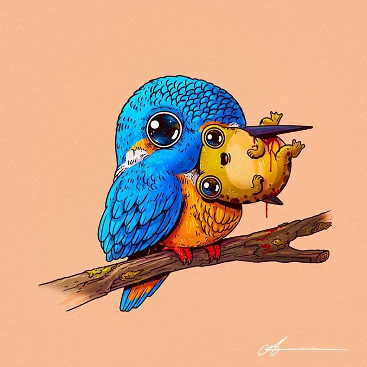 "Artist Creates Extremely Adorable ""Predator & Prey"" Illustrations #2: Kingfisher & Frog"