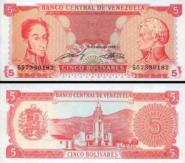 5 Bolívares Venezuela 1989, P70b