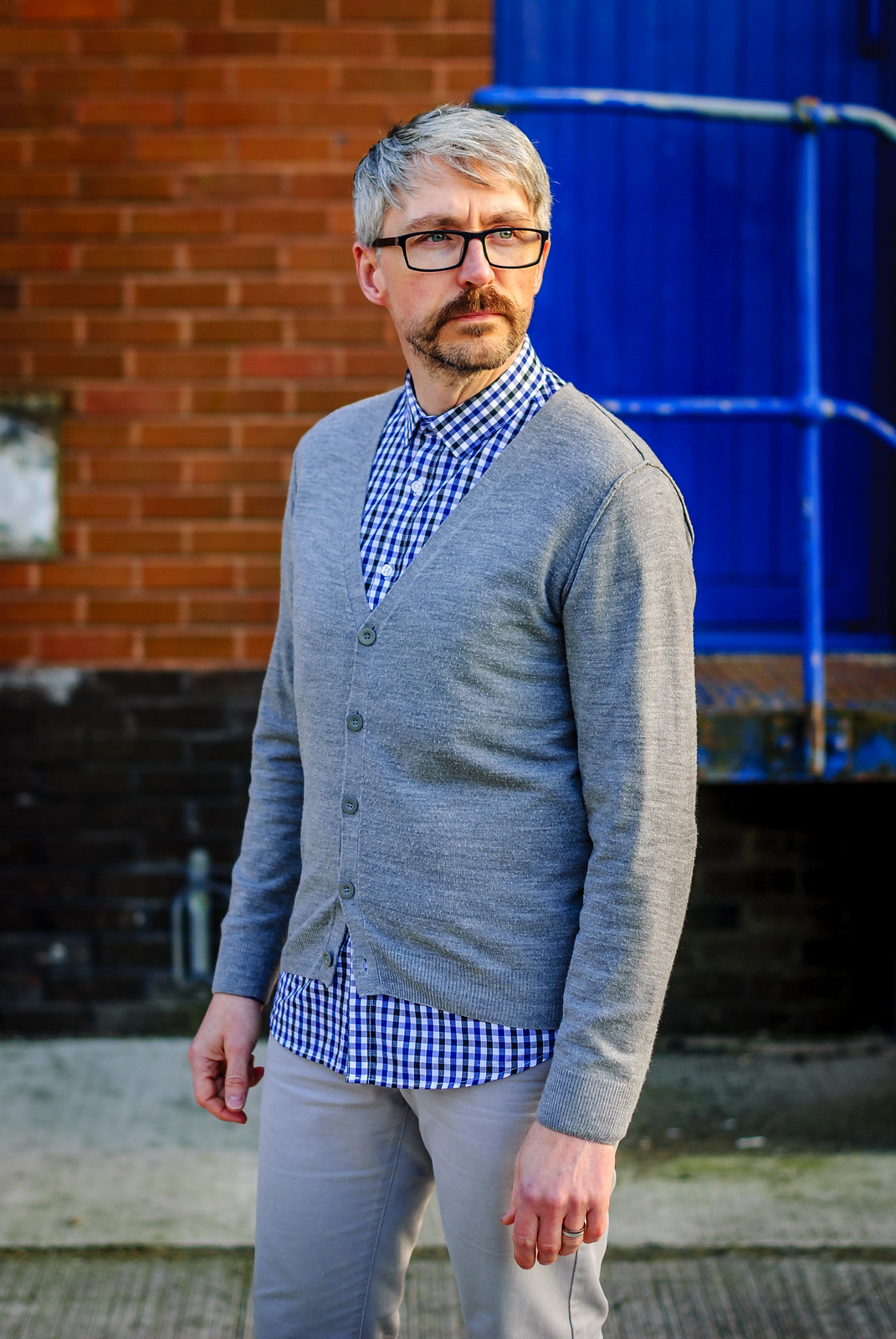 Smart Casual Menswear: Gingham Check Shirt \ Cardigan \ Grey Chinos \ Desert Boots \ Silver Londoner, over 40 style