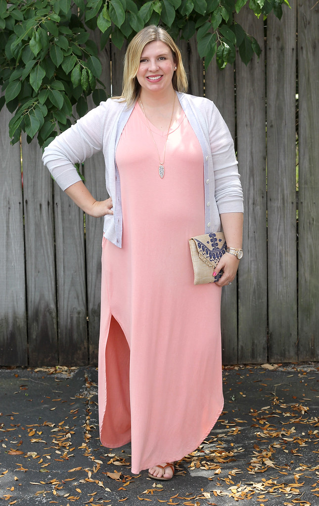pink oversized maxi, gray stripe cardigan 2