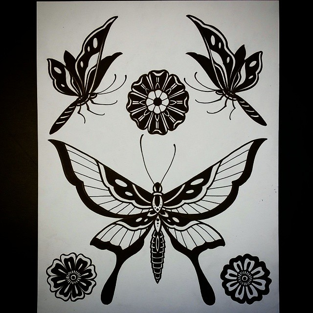 Flower Butterfly Black Traditional Tattoo Tattoos B Flickr