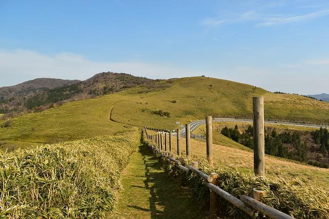 伊豆山稜線歩道の雄大な草原