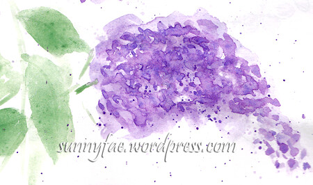 splattered lilac flowers