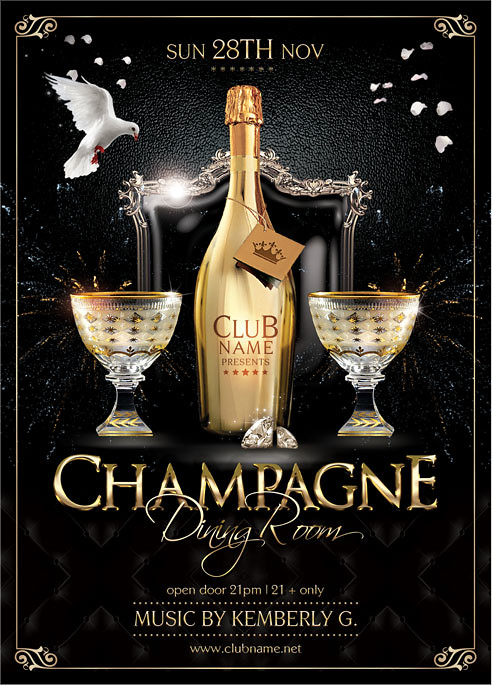 Champagne Dining Room Flyer Template You Can Download