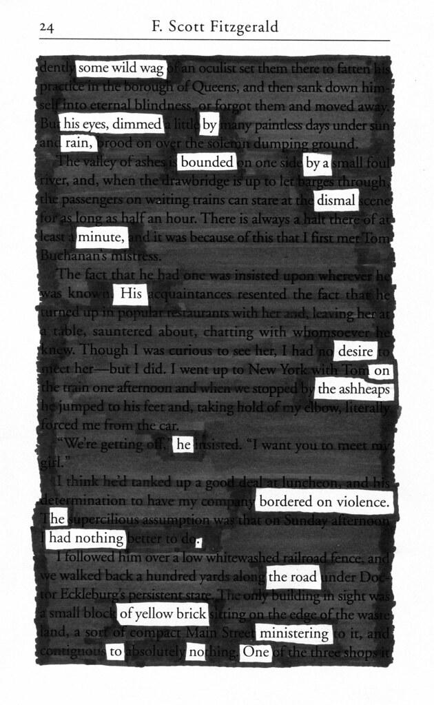 Blackout Poem The Great Gatsby  Blackout Poem Source Flickr